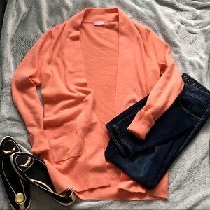 J. Crew Cashmere Peach Cardigan LongSleeve Sweater